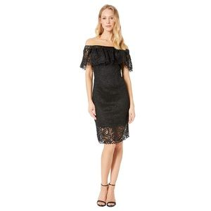 BETSEY JOHNSON OFF THE SHOULDER LACE DRESS